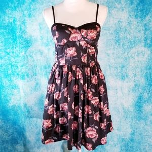 Band of Gypsies Black Floral Roses Summer Dress